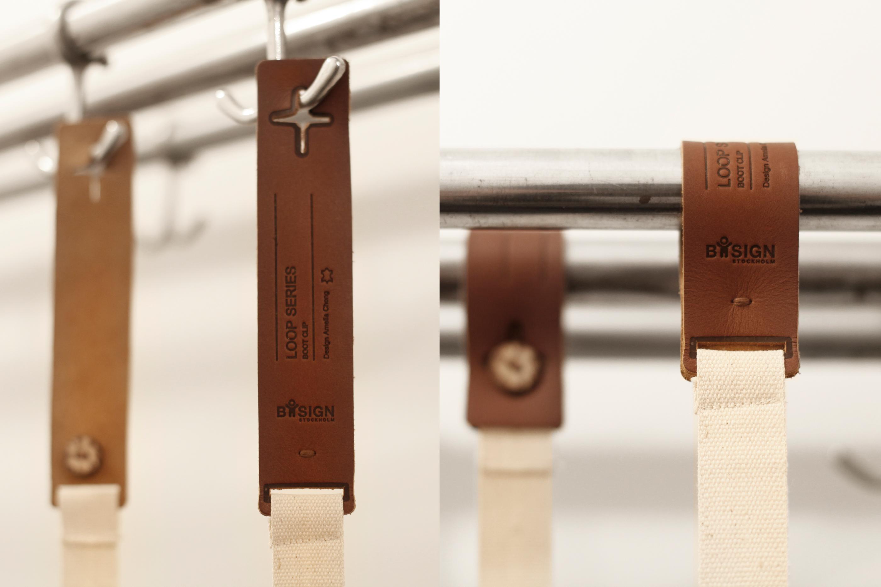 Stövelhållare Loop Poleradmörkgråbrowngräddvit. 4x1x100