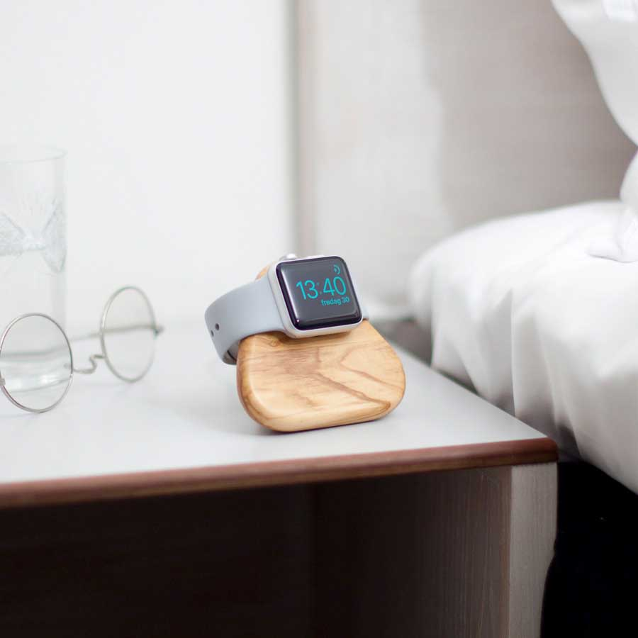 Bosign Apple Watch Laddningsstation - Tetra Nightstand  Olivträ