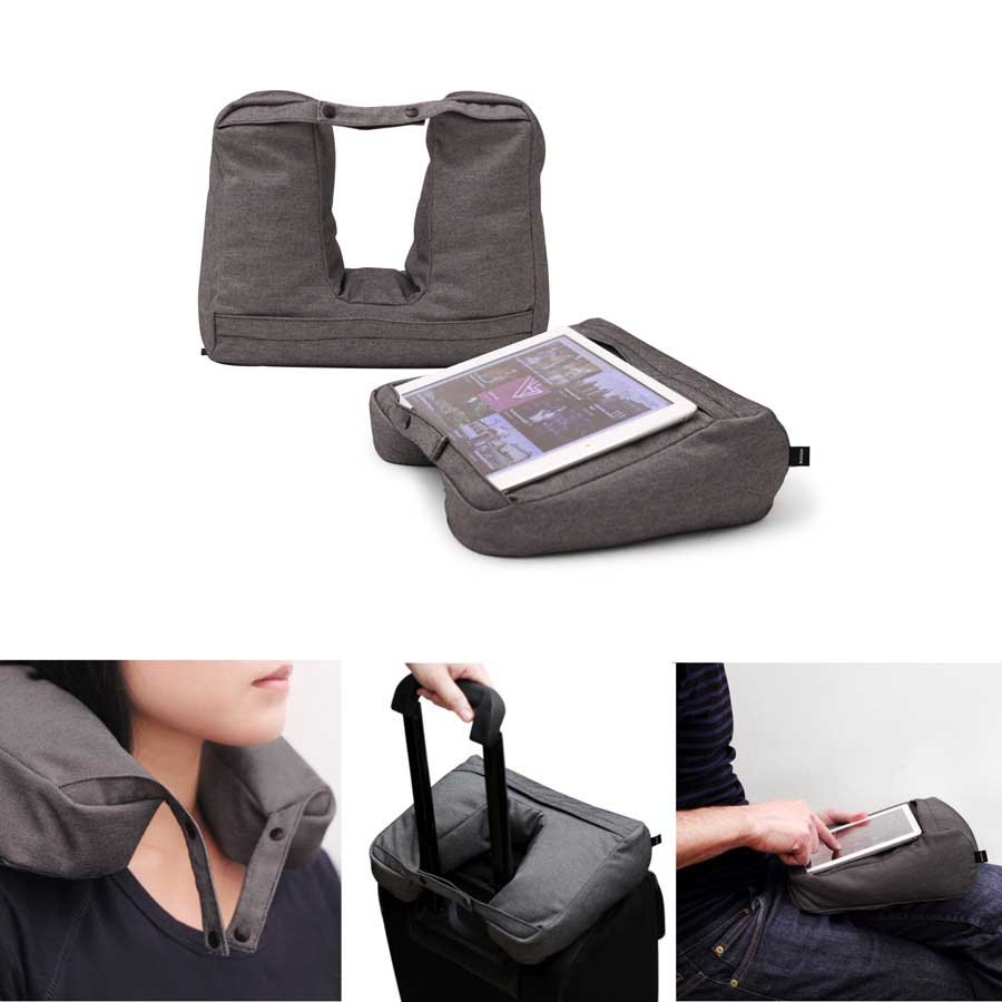Tablet & Travel Pillow 2-in-1 -  Salt & Pepper Grå. 25x28x9 cm. Bomullsmix - 10