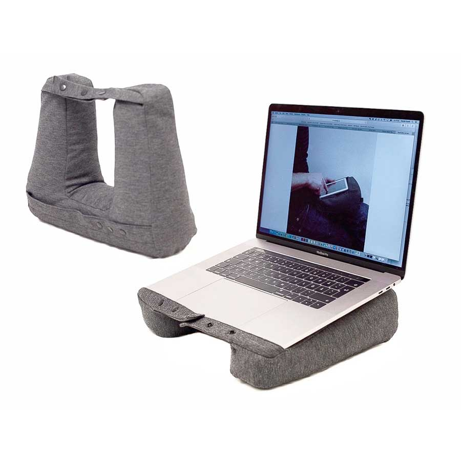 Kneck™ Travel Pillow 3-in-1. Resekudde för laptop, surfplatta & nacke. Comfort Plus.  Salt & Pepper Grå. 33x28x10 cm. Bomullsmix