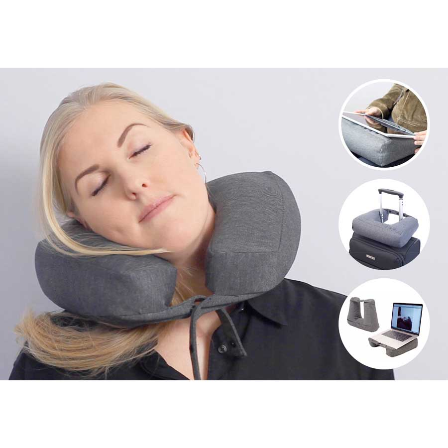 Kneck™ Travel Pillow 3-in-1. Resekudde för laptop, surfplatta & nacke. Comfort Plus.  Salt & Pepper Grå. 33x28x10 cm. Bomullsmix - 1
