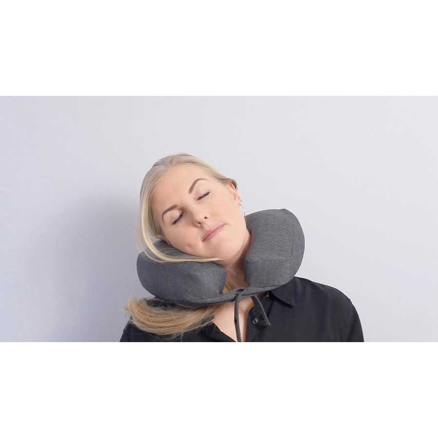 Kneck™ Travel Pillow 3-in-1. Resekudde för laptop, surfplatta & nacke. Comfort Plus.  Salt & Pepper Grå. 33x28x10 cm. Bomullsmix - 2