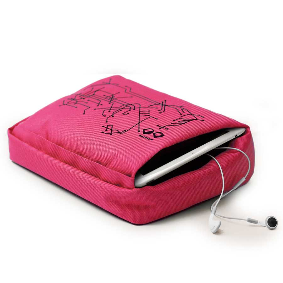 Tabletpillow Hitech 2 för iPad / tablet PC Cerise/Svart. Polyester