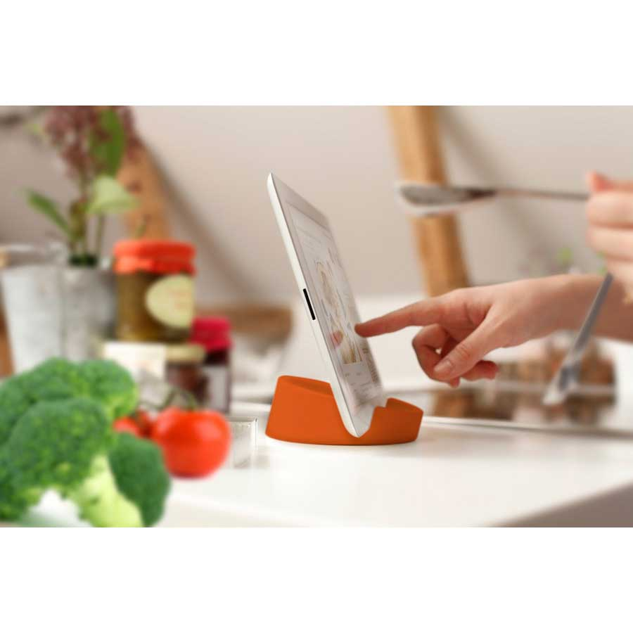 iPad ställ Kitchen Tablet Stand. Kokboksstöd för iPad/tablet PC - Orange. ø11,4 cm, 4,5 cm hög. Silikon - 3